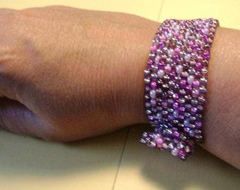 Grapeade purple beadwoven bracelet