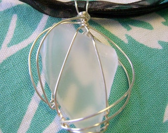 Sea glass pendant 11 ribbon necklace