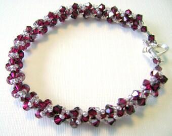 Dark red Garnet Spirals crystal beadwoven bracelet