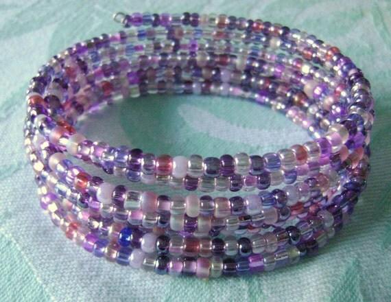 Purplicious memory wire coil wrap bracelet