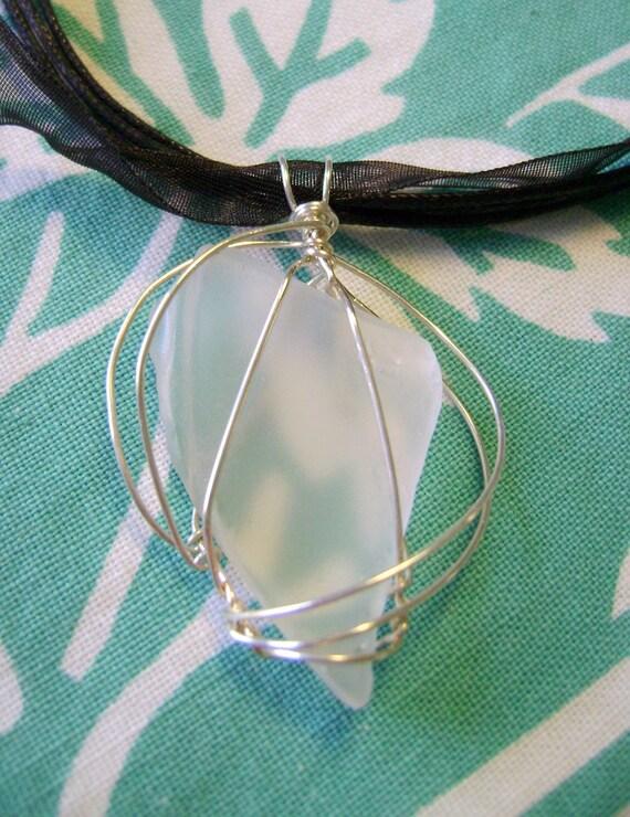Sea glass pendant 11 ribbon necklace