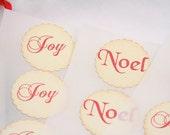 Christmas Stickers, Christmas Envelope Seals, Noel Stickers, Joy Stickers, Set of 12