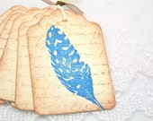 Bird Feather Gift Tags - Vintage Stamped