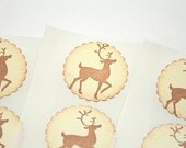 Reindeer Stickers, Rudolph Stickers, Christmas Stickers, Reindeer Christmas Stickers Envelopes Seals Set of 12