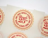Christmas Stickers Do Not Open Until December 25 Vintage Style Stamped Set of 12