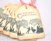 Victorian Christmas Tags, Ice Skating Couple in Love Set of 6
