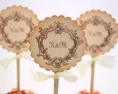 Wedding Cupcake Toppers / Food Picks - Initials You Choose Ribbon Color Set of 10
