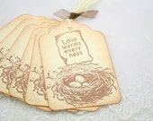 Bird Nest Tags Baby Shower Gift Favor Tags Love Warms Every Nest in Ivory