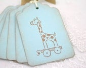 Baby Boy Gift Tags Favor Tags Vintage Giraffe - In Blue