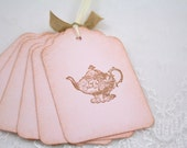 Pink Teapot Tags Tea Party Gift Tags Favor Tags Set of 10