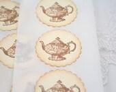 Teapot Stickers Tea Party Stickers Seals Set of 12