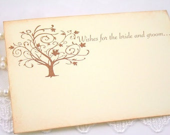 Wedding Wish Cards Guest Book Alternative Wishing Cards Vintage Tree