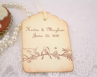 Wedding Favor Tag Personalized Wedding Tags / Favor Tags - Name and Date - Love Birds