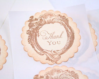 Thank You Stickers Vintage Roses Wedding Seals