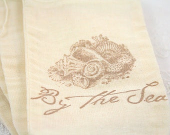 Muslin Favor Bags Seashells By the Sea SET OF 10
