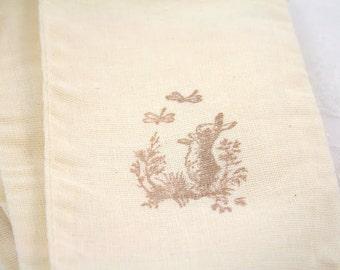 Bunny Muslin Favor Bags / Drawstring Gift Bags - Bunny Rabbit and Dragonflies Set of 10