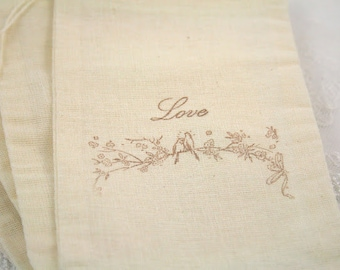 Muslin Favor Bags / Drawstring Gift Bags - Stamped Vintage Love Birds - Wedding / Birthday / Baby Shower 4x6 OR 5x7