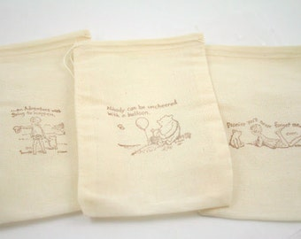 Winnie the Pooh Muslin Favor Bags Baby Shower Birthday Party SET OF 10