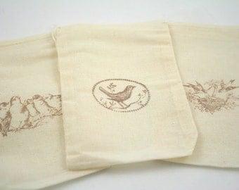 Muslin Favor Bags / Drawstring Gift Bags Birds SET OF 10