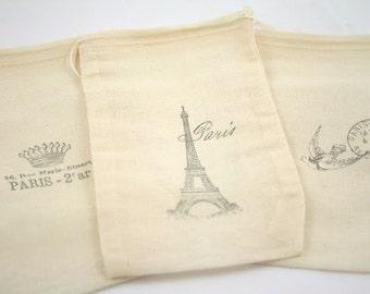 As Seen In BRIDES - Muslin Favor Bags Paris Eiffel Tower Bags in Black SET OF 10
