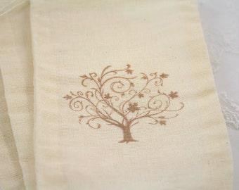 Wedding Favor Bags Stamped Vintage Tree Wedding Bridal Shower Set of 10