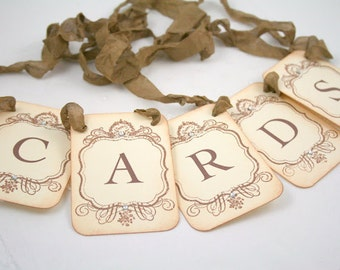 Cards Banner Garland Wedding Bridal Shower Banner - Petite Vintage Style - Wedding