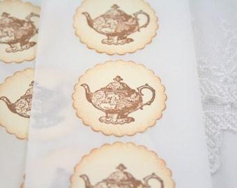 Teapot Stickers Tea Party Stickers Seals