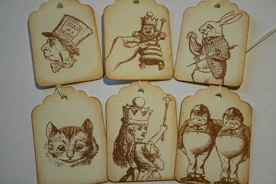 Gift Tags - Handmade Alice in Wonderland and Company