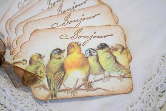 Gift Tags - Handmade Singing Bird Bonjour