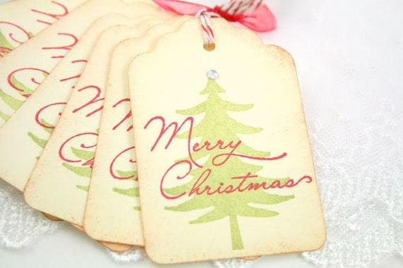 Christmas Tree Tags Merry Christmas Favor Tags