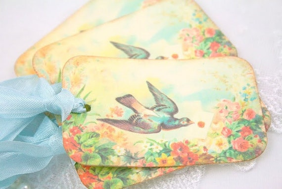 Victorian Bird Gift Tags Love Letter