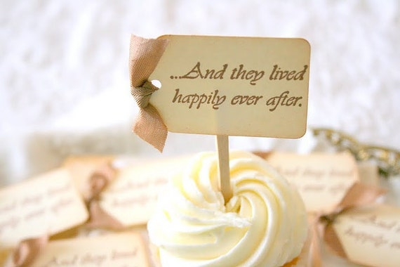 Wedding Cupcake Toppers / Food Picks - Happily Ever After You Choose Ribbon Color Set of 10
