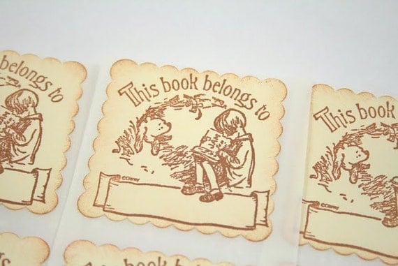Bookplates Winnie the Pooh - Stamped Stickers Vintage Style