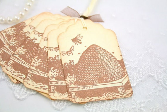 Bee Tags Favor Gift Tags Bee Hive Wedding Bridal Shower