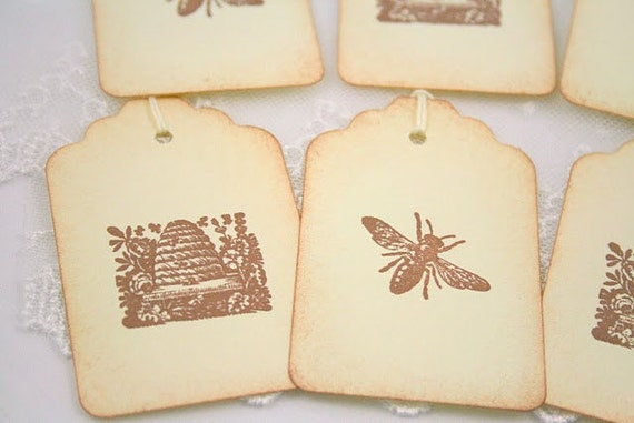 Bee and Hive Gift Tags Vintage Style