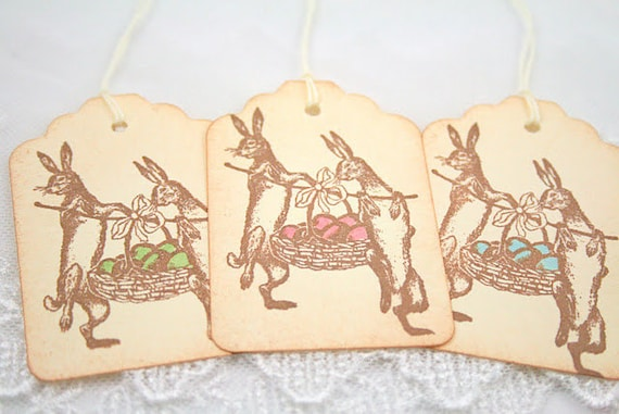 Easter Tags Bunny Rabbit Gift Tags Vintage Easter Basket