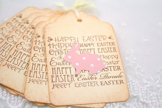 Easter Tags Favor Tags Gift Tags Polka Dot Bunny Rabbit