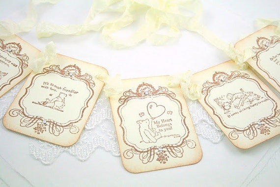 Winnie the Pooh Banner Garland Vintage Style Decoration Baby Shower Birthday Party