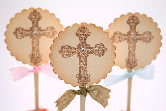 Christening Cross Cupcake Toppers / Food Picks Baptism Baby Shower