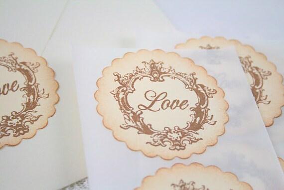 Wedding Stickers Seals Love Stamped Vintage