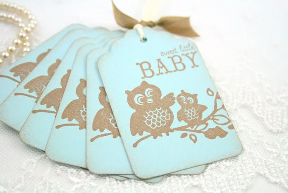 Baby Boy Shower Gift Tags Favor Tags Vintage Owl in Blue