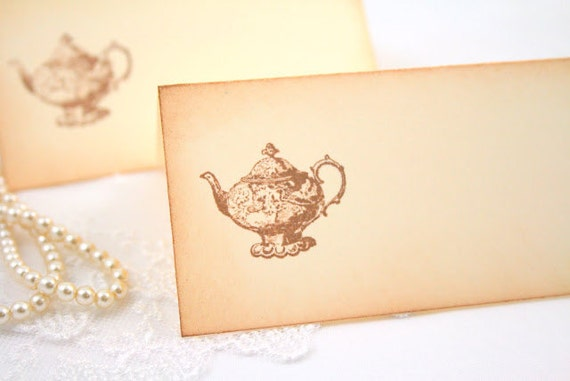 Tea Party Place Cards / Placecards Food Buffet Signs Set of 10 Vintage Teapot - in Ivory