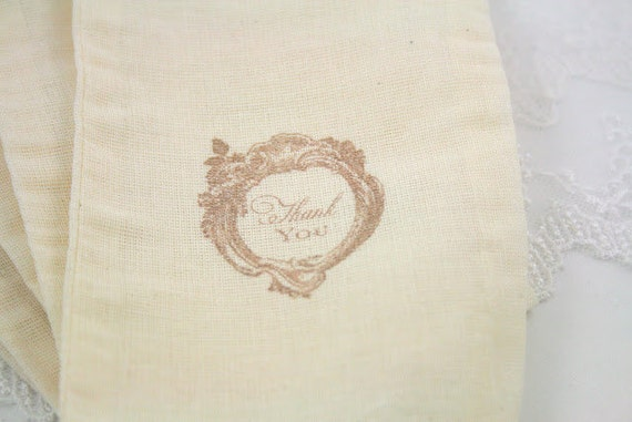 Muslin Bags / Drawstring Gift Bags - Stamped Vintage Thank You Roses SET OF 10