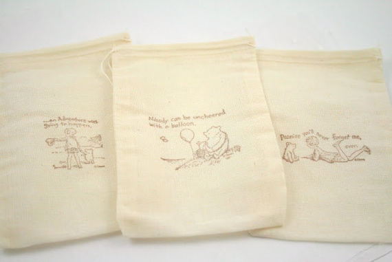 Winnie the Pooh Muslin Favor Bags / Drawstring Gift Bags Stamped Baby Shower Birthday Party 4x6 OR 5x7