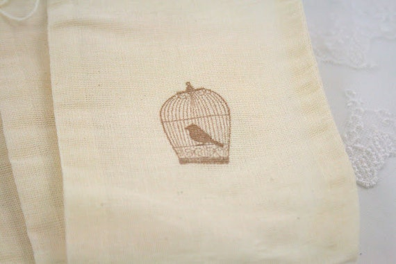 Birdcage Muslin Favor Bags Bird Cage Favor Bags SET OF 10