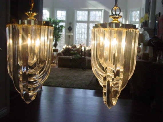 Pair Mid Century Modern Regency Lucite Chandeliers Reduced  RESERVED for Dragonfly