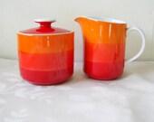 Mod Orange and red Sugar and Creamer Set