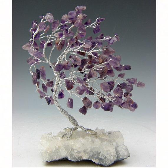 Wire Tree Sculpture - Amethyst Gemstone on Apophyllite base 236