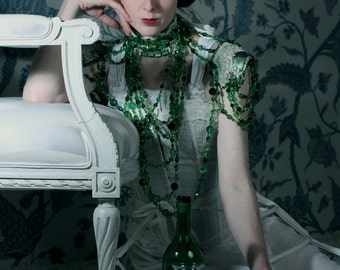 Absinthe and laudanum in the afternoon - Leather, lace and crystal collar with secret glass phial. Ready to ship