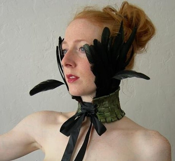 Verdigris stained Leather and Jet-Black Feather Ruff.